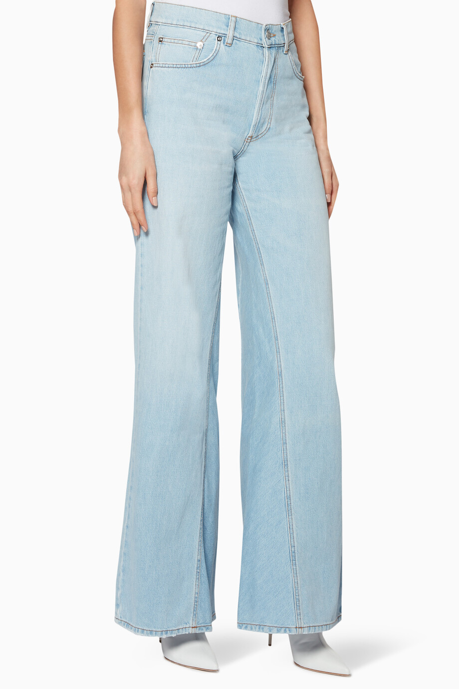 0c188f86 Shop Ganni Blue Light-Blue Wide-Leg Sheldon Jeans for Women | Ounass UAE