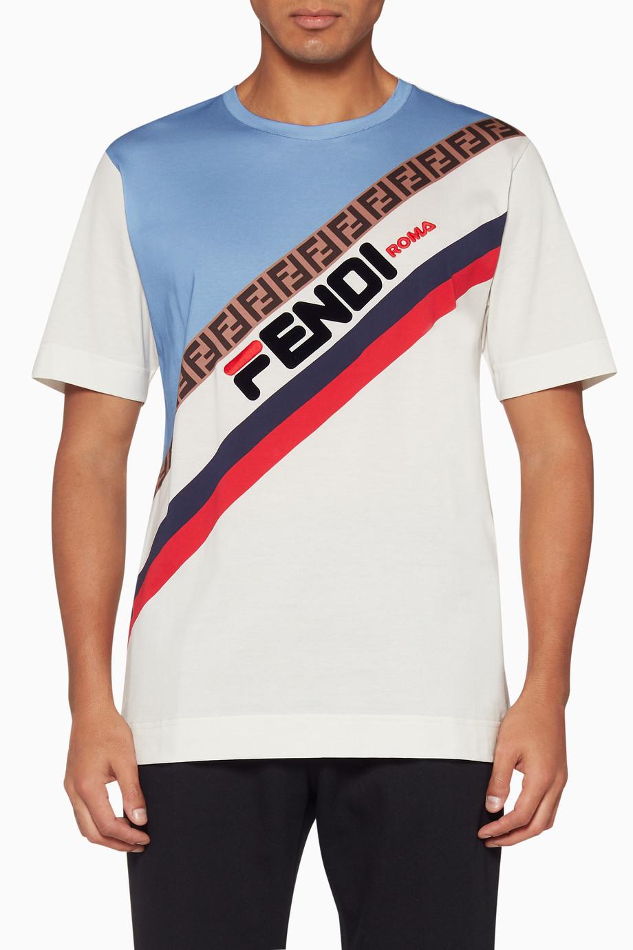 9ff29fbfb Shop Fendi Blue White Fila Oversized T-Shirt for Men | Ounass