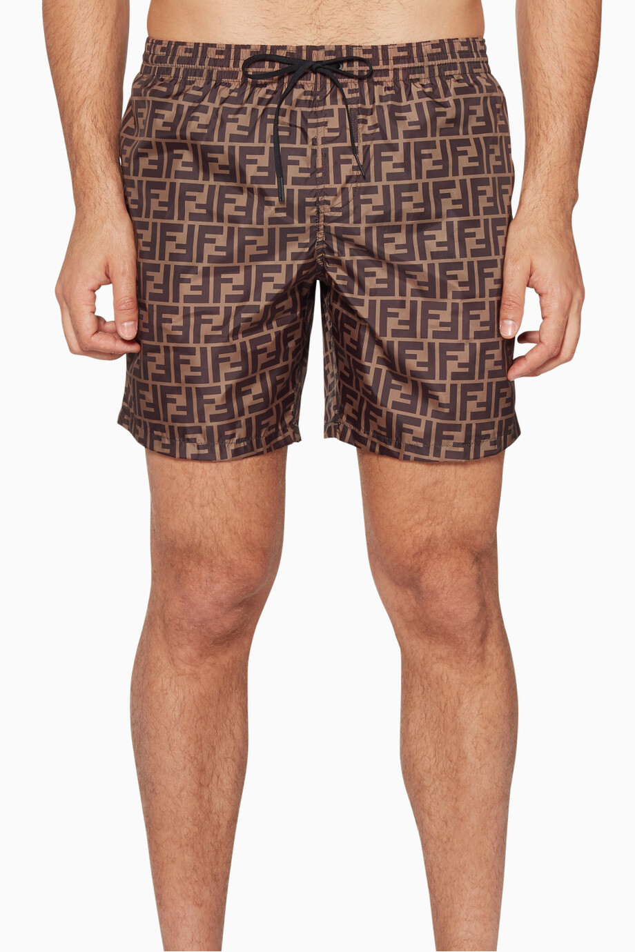 24e4590dfc Shop Fendi Brown Brown FF All Over Swim Shorts for Men | Ounass UAE