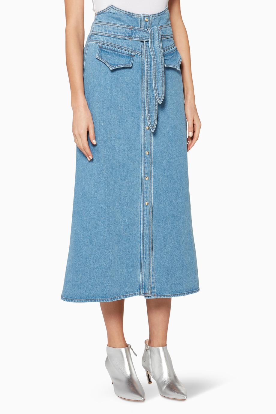 9ba8af2cd تسوق تنورة ألما دينم متوسطة الطول زرقاء NANUSHKA أزرق للنساء | اُناس ...