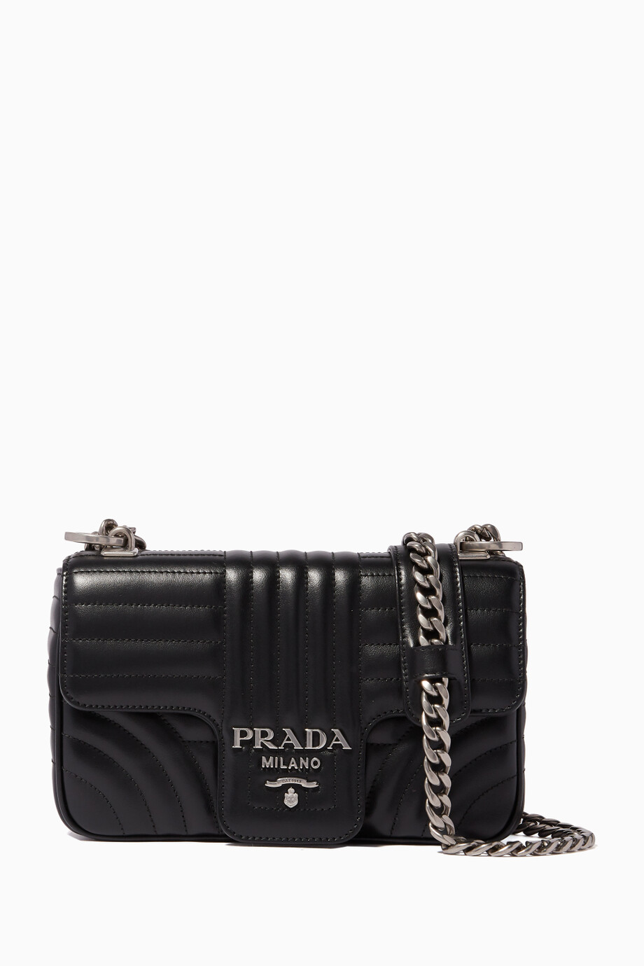 a64ed97134c7e0 Shop Prada Black Nero Diagramme Quilted Small Shoulder Bag for Women ...