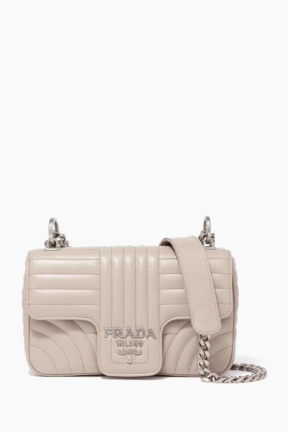 29b1c98578fa Shop Prada Neutral Light-Beige Diagramme Quilted Small Shoulder Bag ...