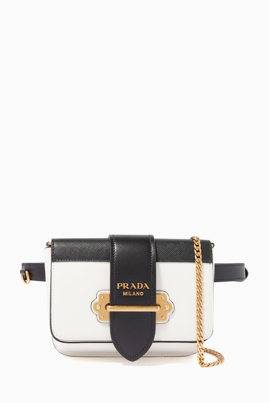 56187371c571a7 Shop Prada White White & Black Cahier Belt Bag for Women | Ounass