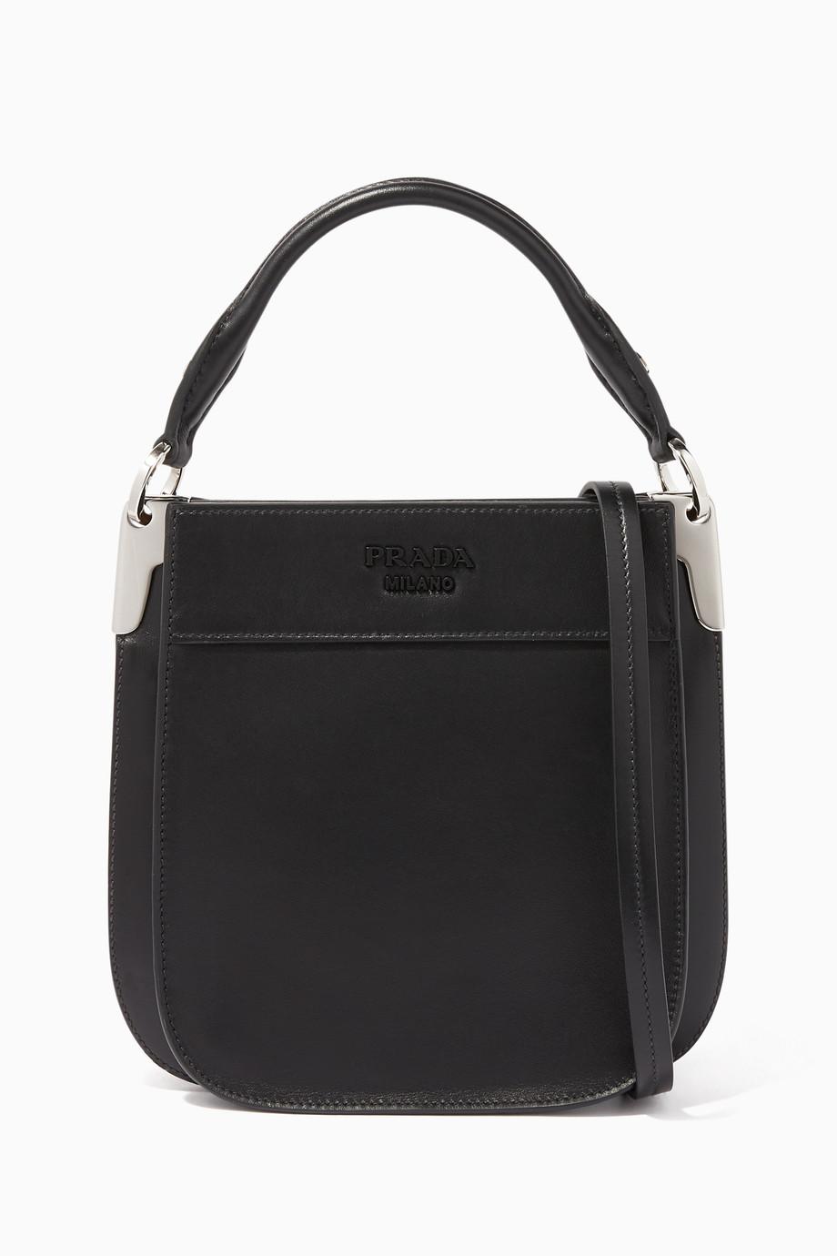 d2402ca1e7d9 Shop Prada Black Small Saffiano Margit Bucket Bag for Women   Ounass UAE