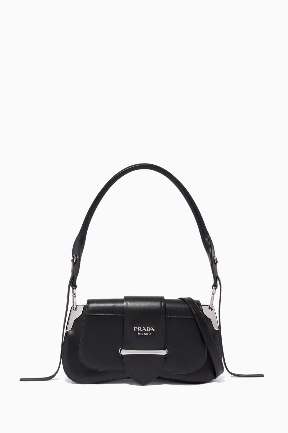 e80fadbee7 Shop Prada Black Black Sidonie Shoulder Bag for Women | Ounass UAE
