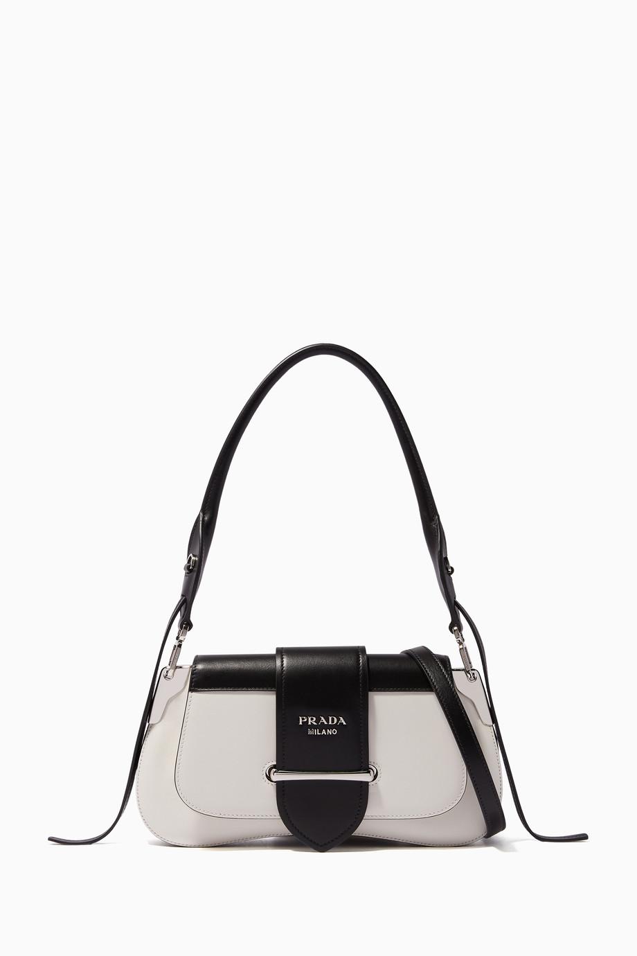 73cbf1cb75c1 Shop Prada White White & Black Small Sidonie Leather Shoulder Bag ...