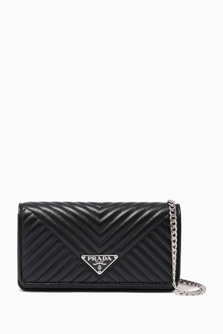 455e7b8a97 Shop Prada Black Black Diagramme Chain Wallet for Women | Ounass UAE