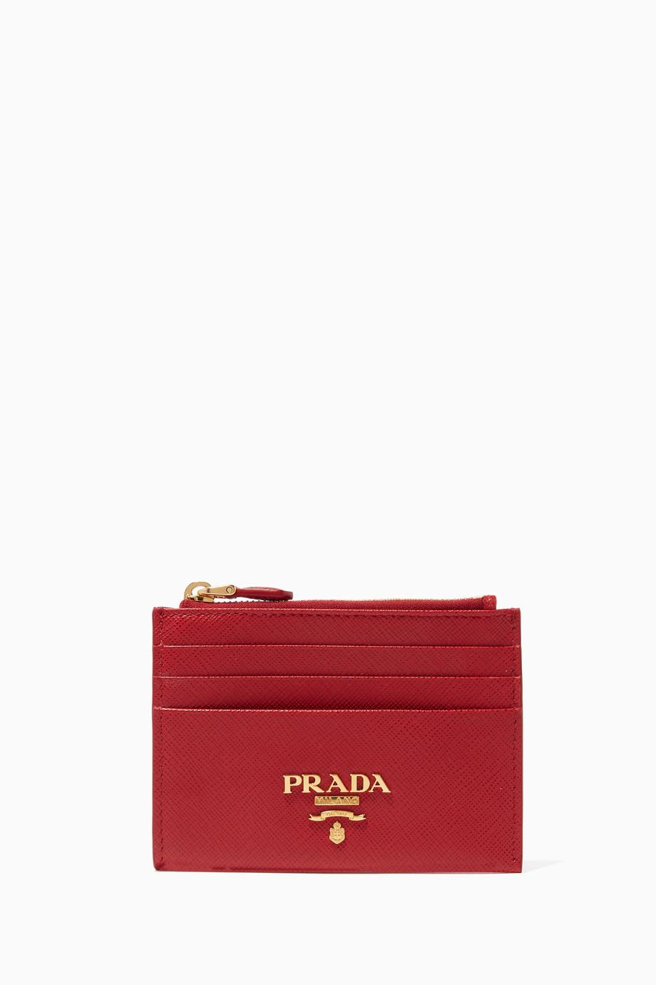 80ef6772561359 Shop Prada Red Saffiano Leather Card Case for Women   Ounass