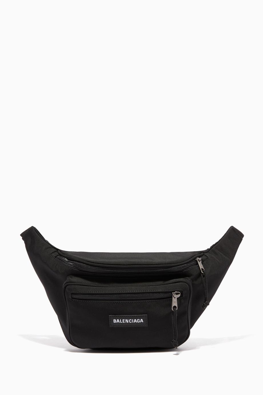 58a95548db8 Shop Balenciaga Black Black Explorer Logo Belt Bag for Men | Ounass Oman