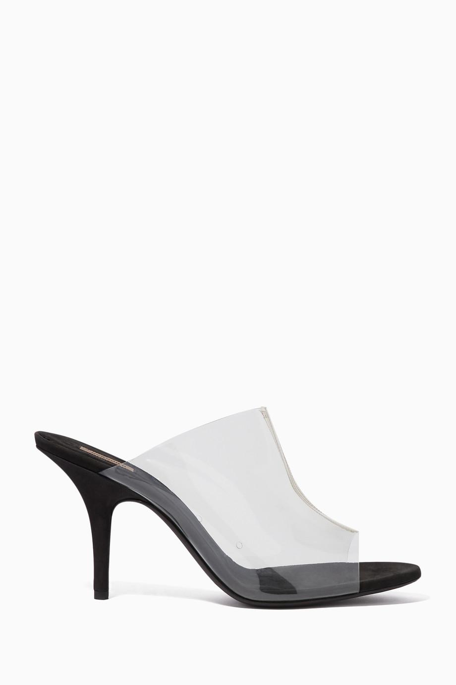 7d317edadbd Shop Yeezy Grey Transparent   Black PVC Open-Toe Mules for Women ...