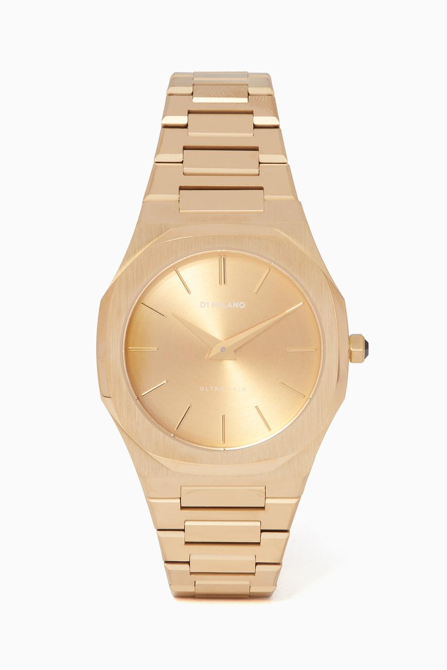 df6ada04c تسوق ساعة رفيعة ذهبية D1 Milano ذهبي للرجال | اُناس