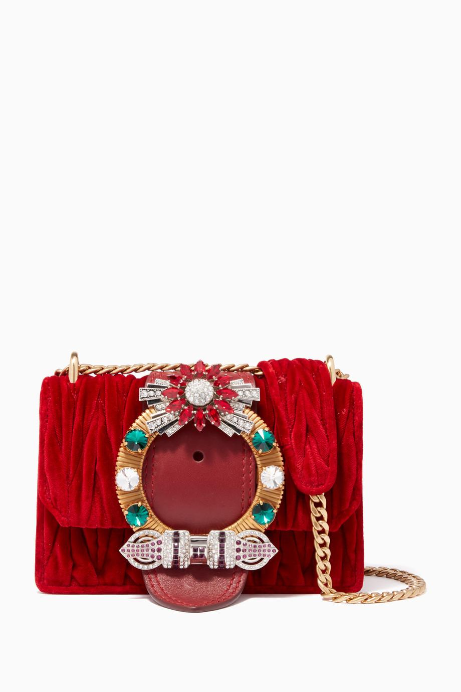 d55639195917 Shop Miu Miu Red Red Velvet Embellished Matelassé Cross-Body Bag for ...