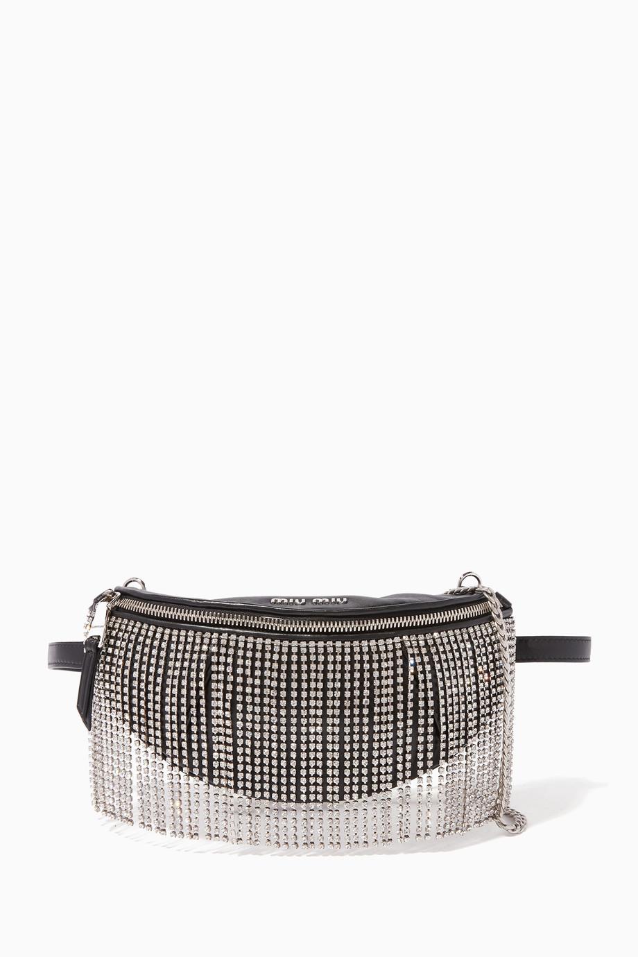25f74770e35 Shop Miu Miu Black Black Crystal-Embellished Fringe Belt Bag for ...