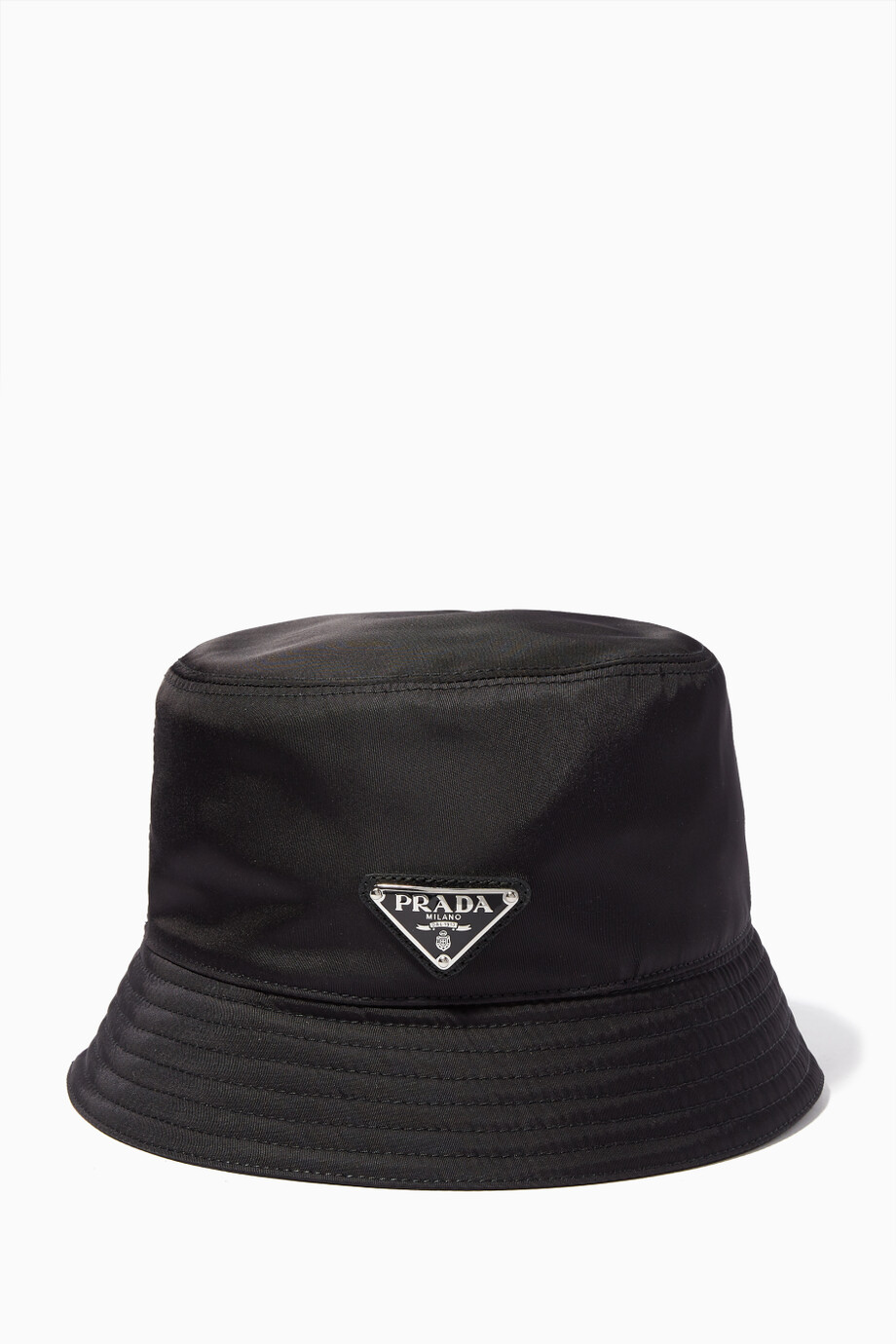 3072849c189 Shop Prada Black Black Logo Bucket Hat for Men
