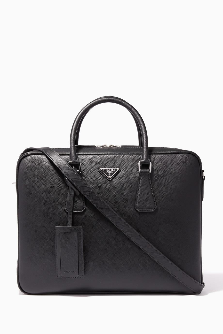 dd0ce73bdbf1 Shop Prada Black Black Saffiano Leather Briefcase for Men