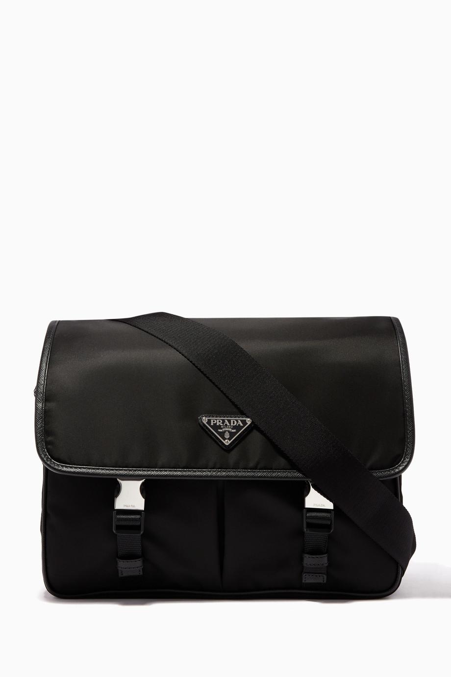 903caf164338 Shop Prada Black Black Nylon Triangle Logo Messenger Bag for Men ...