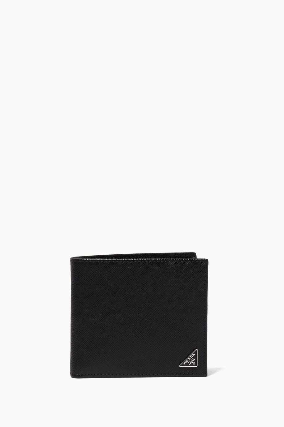 ee14c4ae7b09 Shop Prada Black Black Triangle Logo Saffiano Leather Bill-Fold ...