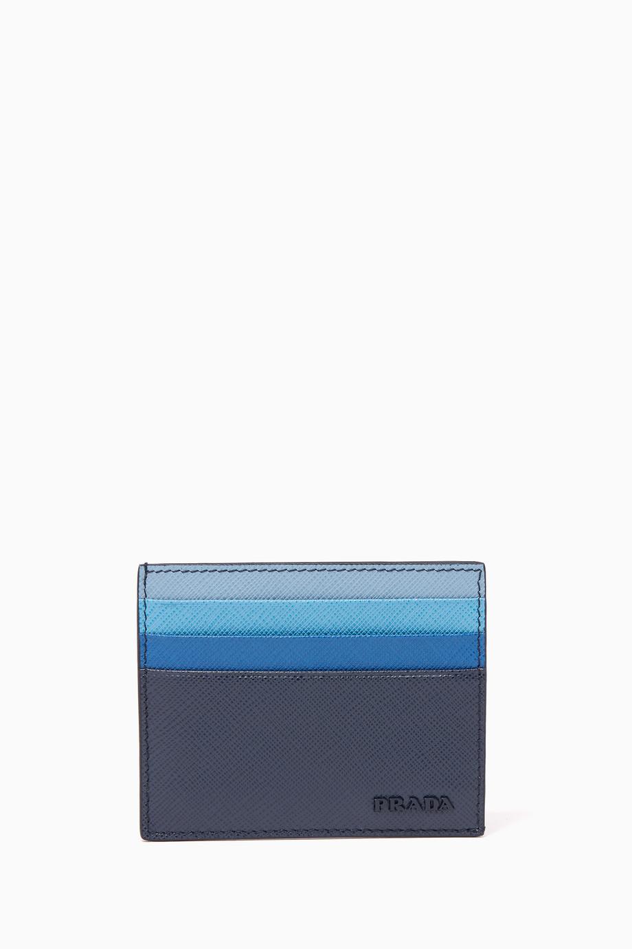 f1a293d70947 Shop Prada Blue Dark-Blue Gradient Saffiano Leather Card Holder for ...