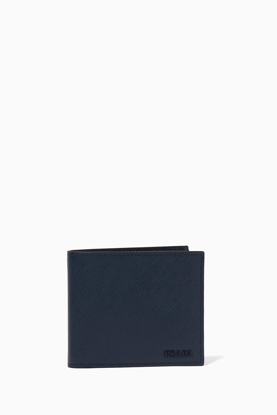 aa1b3b4c37af16 Shop Prada Blue Dark-Blue Gradient Saffiano Leather Bill-Fold Wallet ...