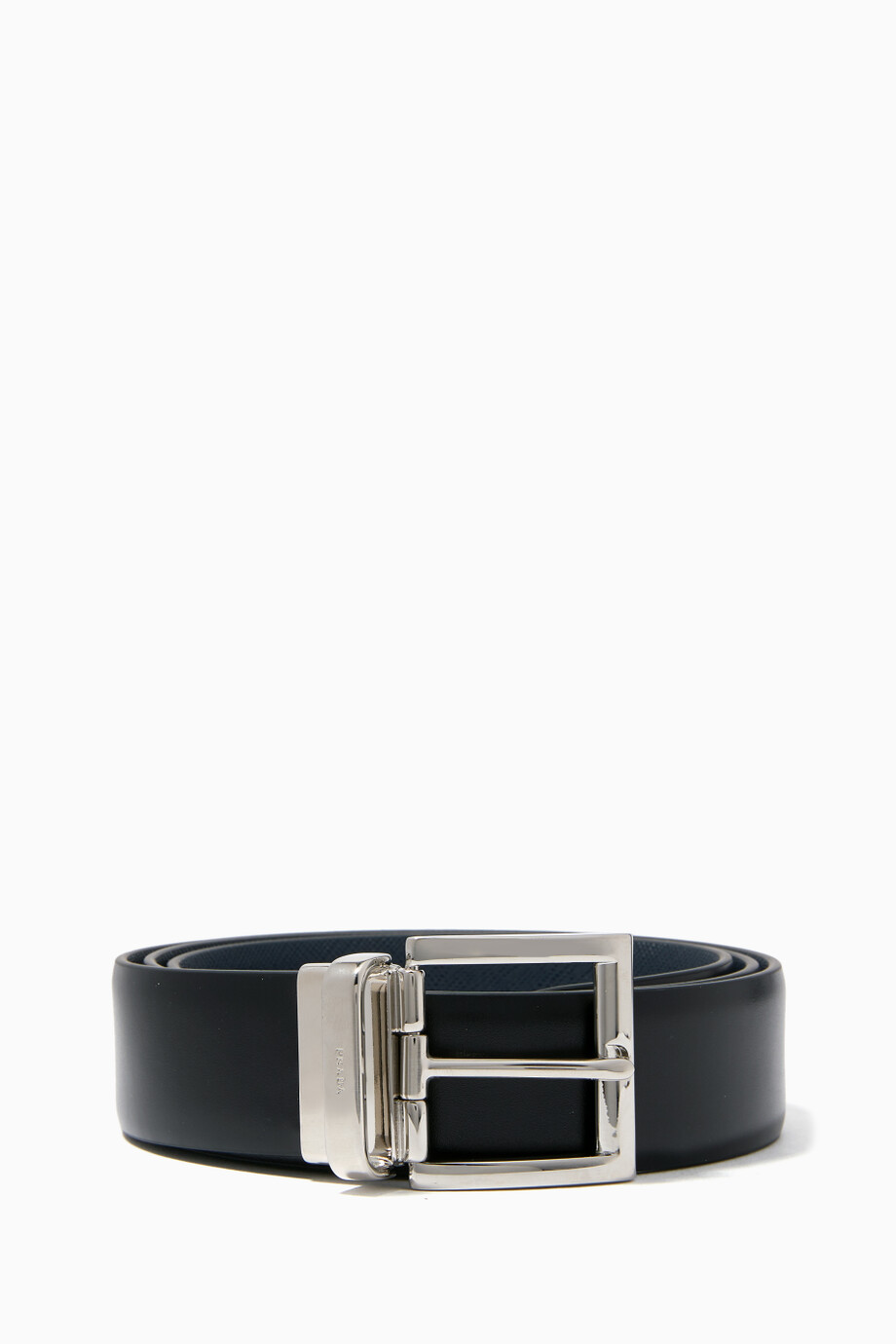 031c7c324f4eb Shop Prada Black Black Reversible Leather Belt for Men | Ounass