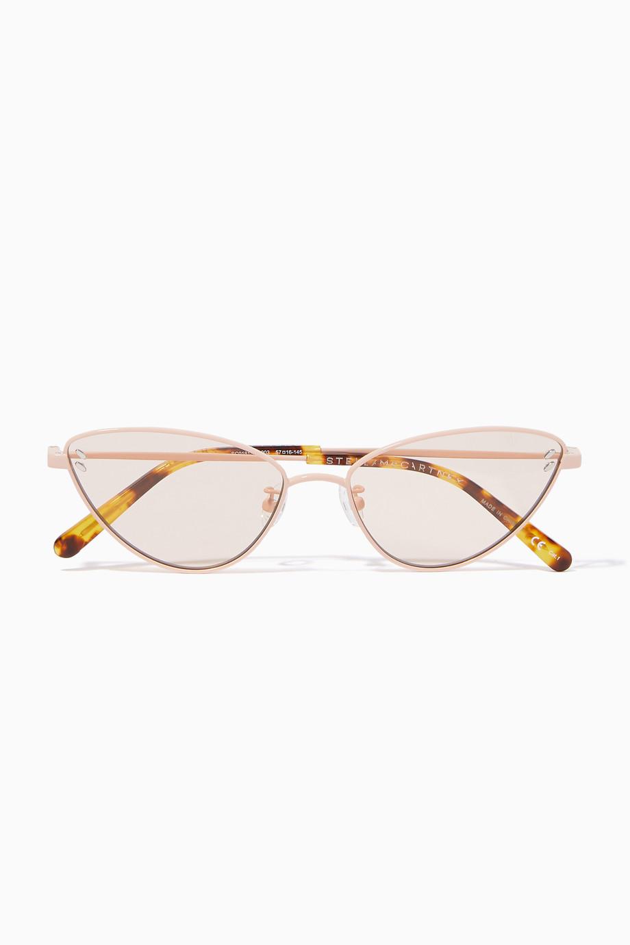 2c89252bb0 Shop Stella McCartney Pink Cat-Eye Metal Frame Sunglasses for Women ...