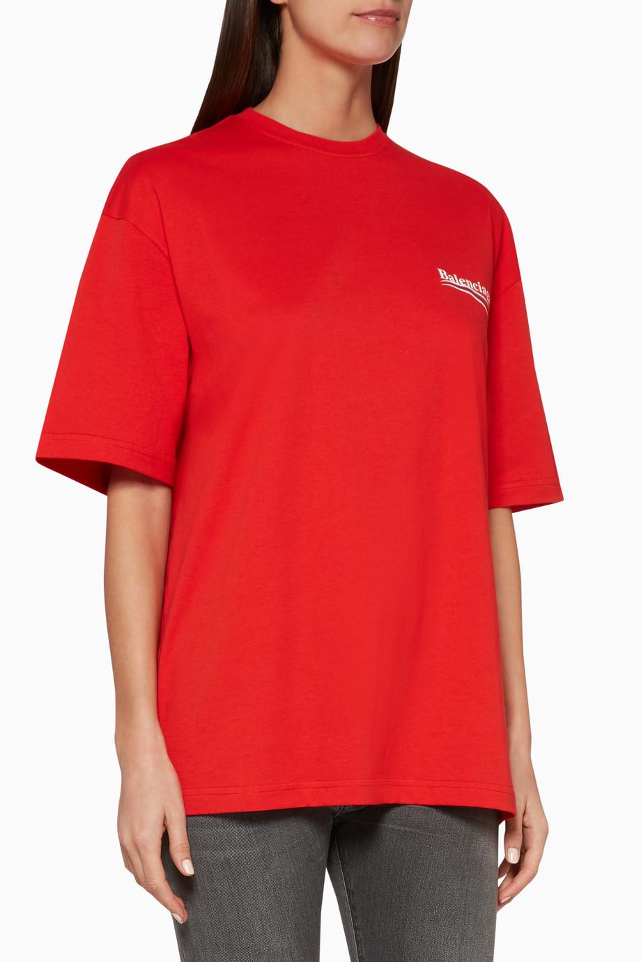 921f730a Shop Balenciaga Red Red Political Logo Oversized T-Shirt for Women ...