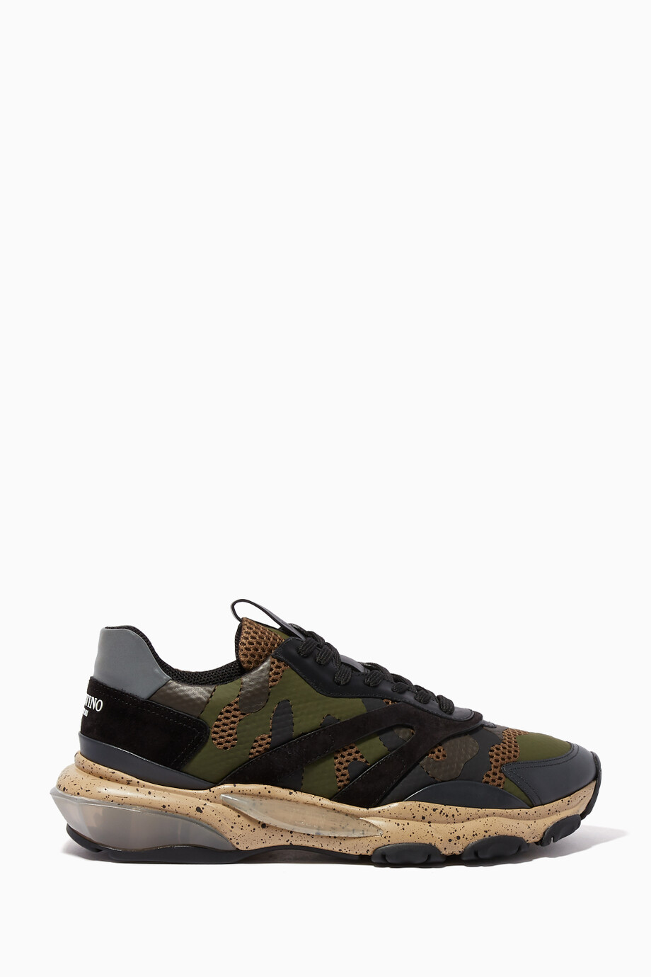 13e62370503d8 Shop Valentino Green Dark-Green Camouflage Print Bounce Sneakers for ...