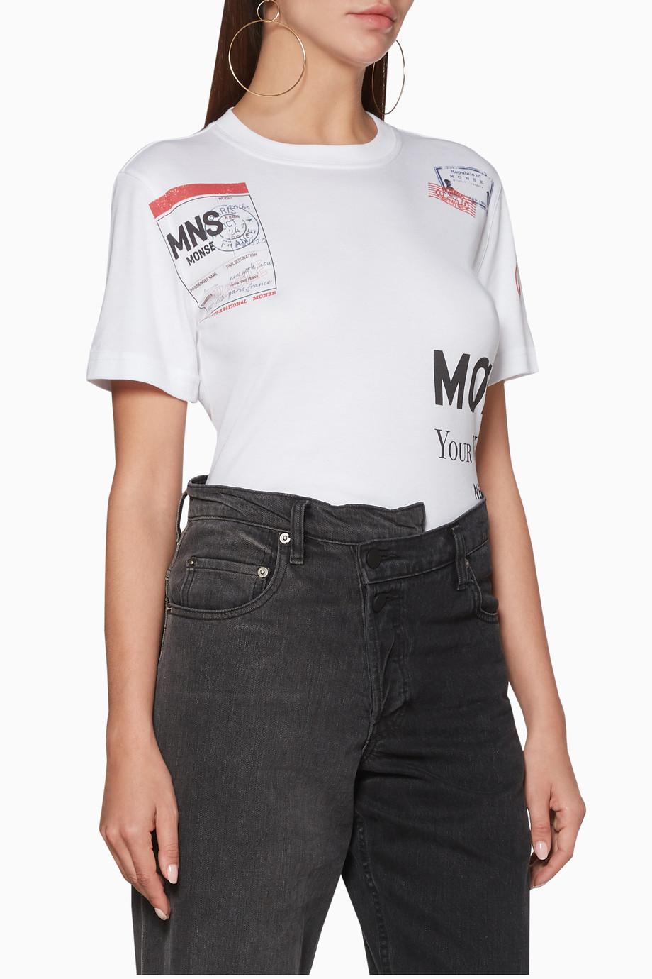 ac4a95053 Shop Monse White White Monse Stamp Short Sleeve T-Shirt for Women ...