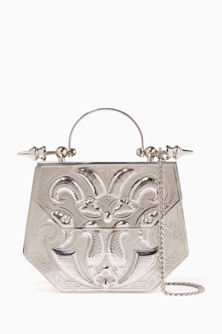 d550e7a6800ae تسوق حقيبة بيد علوية وتصميم محفور فضية اختين فضي للنساء