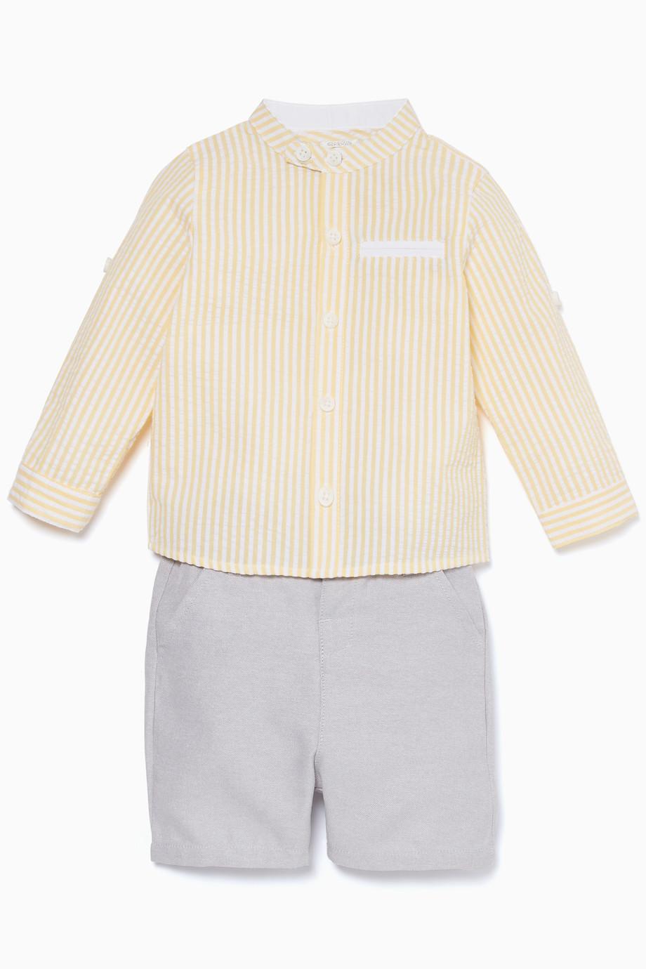 7895291092918a Shop Mamas & Papas Yellow Seersucker Shirt & Shorts Set for Kids ...