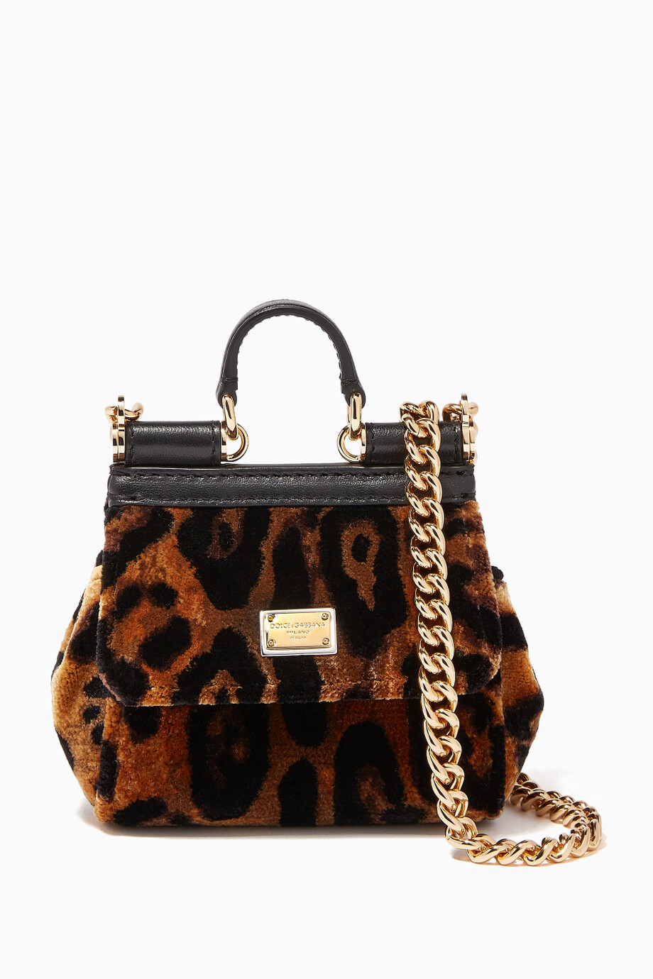 6af17c9722 Shop Dolce   Gabbana Black Leopard-Print Micro Velvet Sicily Bag for ...