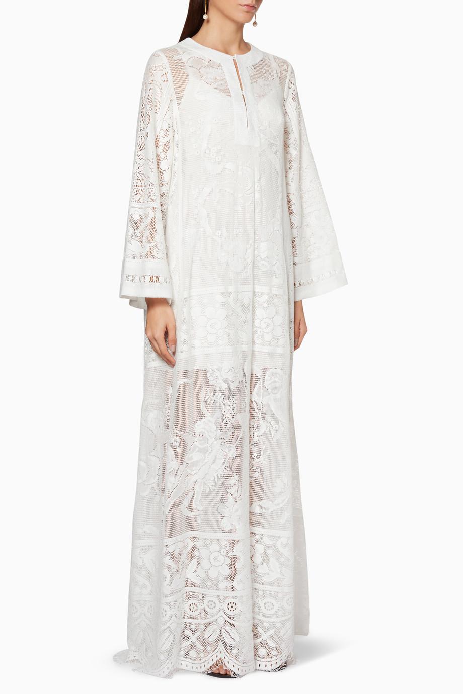 b16a76abe تسوق عباية شبكية بنقشة زهور بيضاء Dolce & Gabbana ابيض للنساء ...