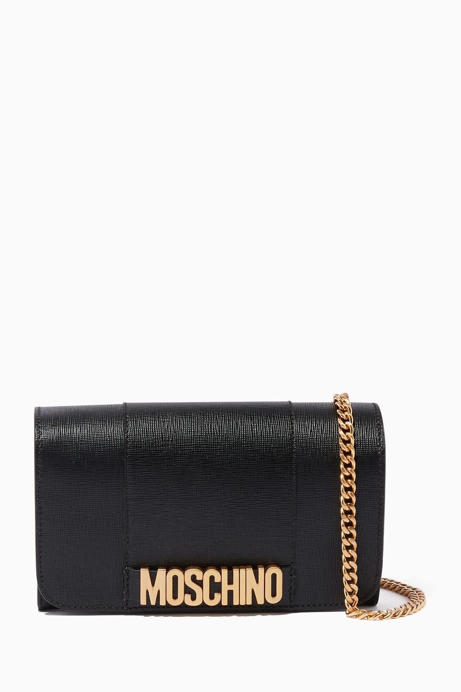 304442820d Shop Moschino Black Black Saffiano Chain Wallet for Women   Ounass ...