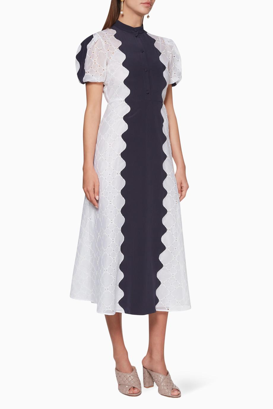 393c021ffb99a Shop Valentino White White & Navy Wave Midi Dress for Women | Ounass UAE