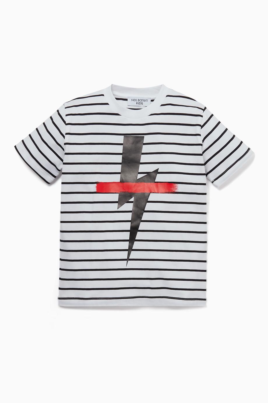 34698c28 Shop Neil Barrett White Striped Lightning Bolt Print T-Shirt for ...