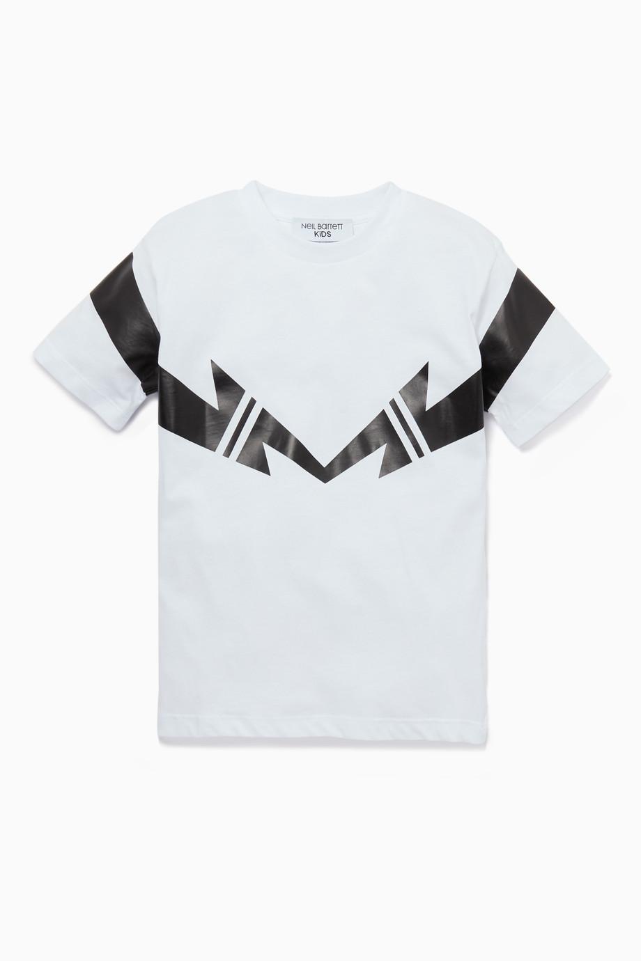 5bcd1410 Shop Neil Barrett White Geometric Lightning Print T-Shirt for Kids ...