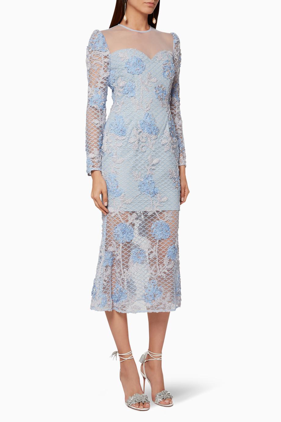 b4e8f82fc51 Shop Elliatt Blue Light-Blue Bordeaux Lace Midi Dress for Women ...