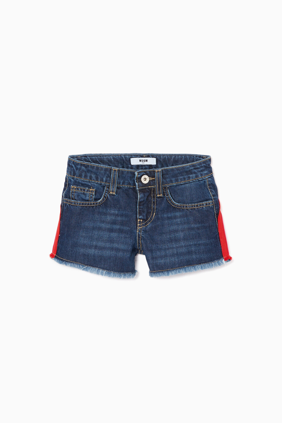 05ba14c050 Shop MSGM Blue Blue Denim Logo-Striped Shorts for Kids | Ounass