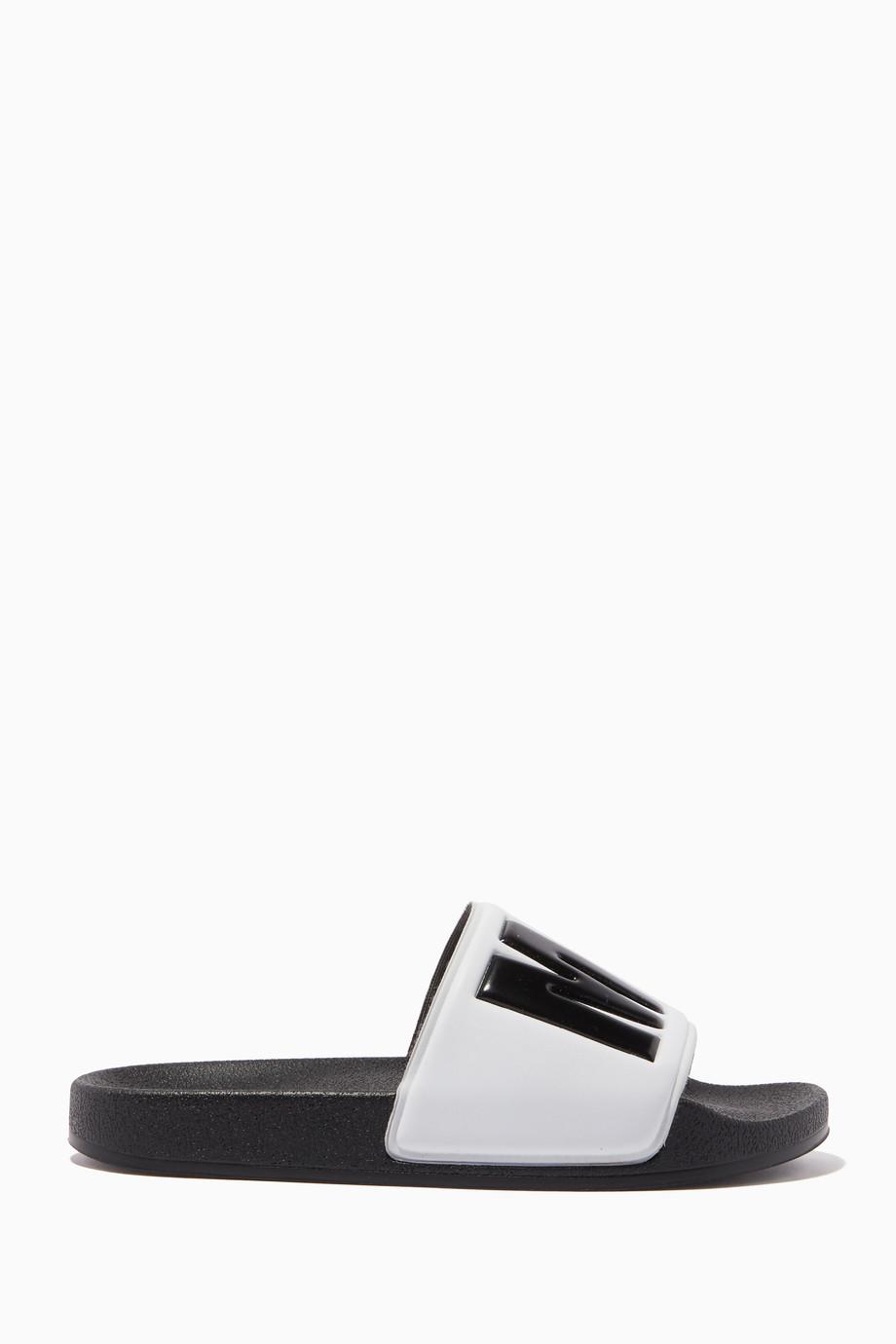 259a79f23c0a2 Shop MSGM White Logo Print Slide Sandals for Kids | Ounass UAE