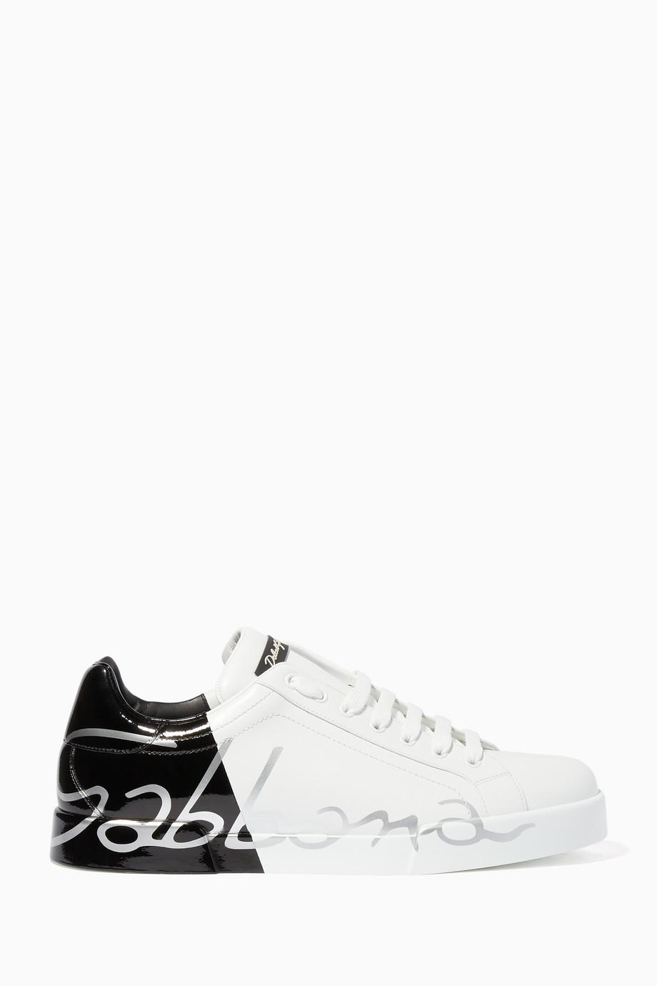 7cf1ef6b4 تسوق حذاء سنيكرز بورتوفينو بكعب لامع أبيض وأسود Dolce & Gabbana ابيض ...