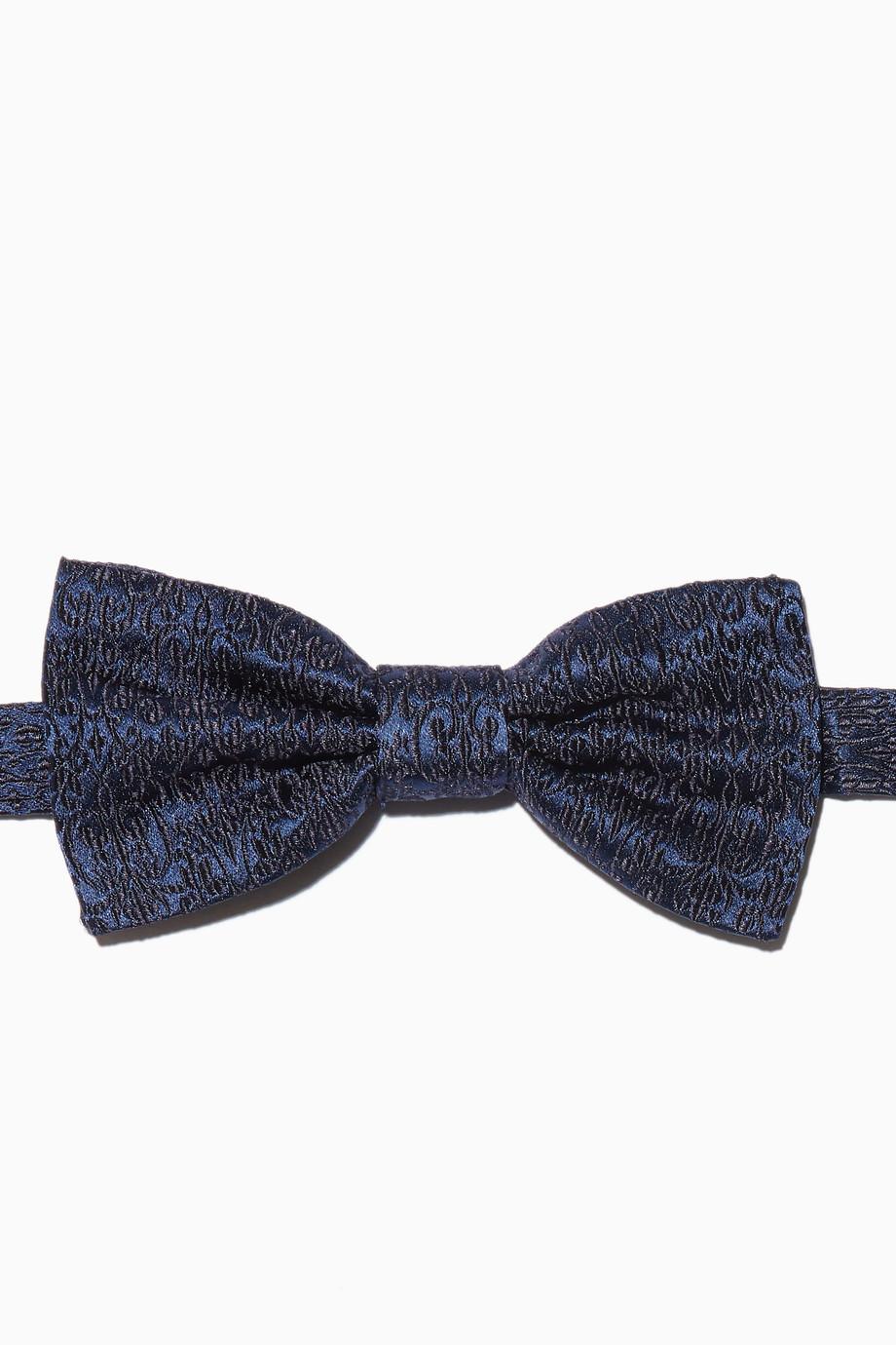2ae3e448239d Shop Dolce & Gabbana Blue Blue Jacquard Ready-Tied Bow Tie for Men ...