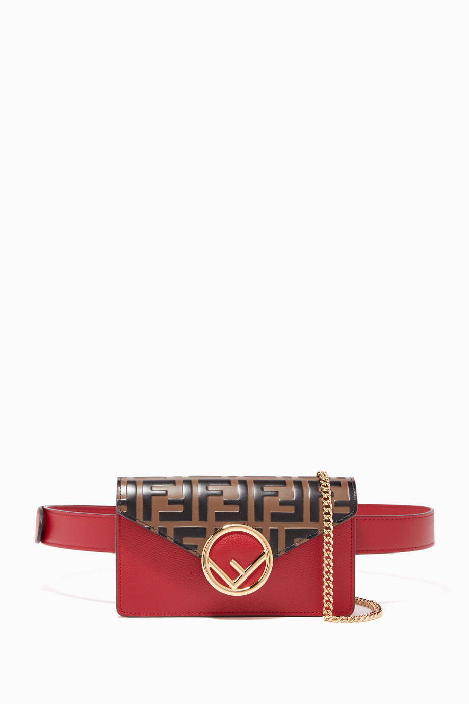 3f8b4bad38b Shop Fendi Black Red Forever Fendi Leather Belt Bag for Women ...