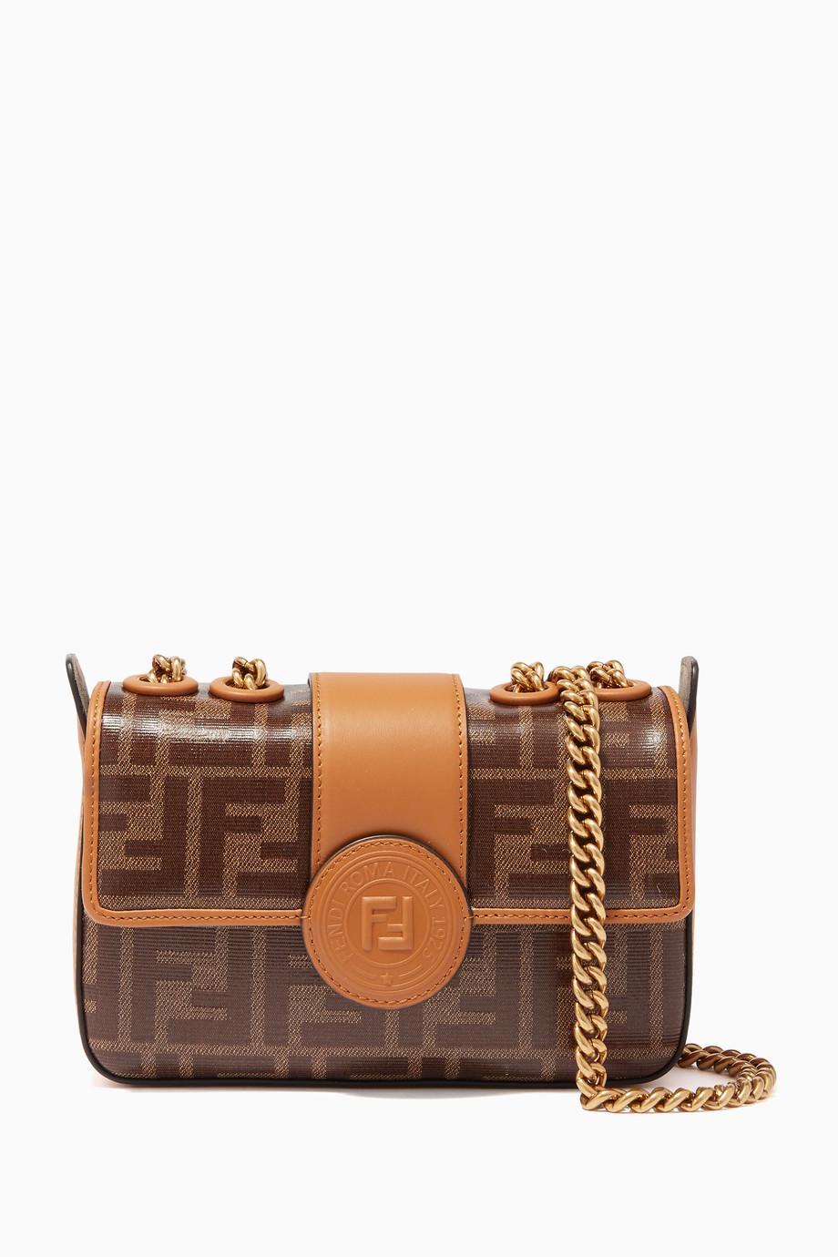 900f535b978 Shop Fendi Brown Brown Logo Baguette Shoulder Bag for Women ...