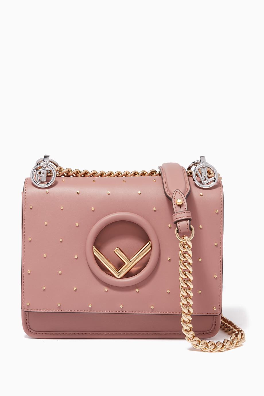 729b3d0e3ae7 Shop Fendi Pink Antique-Rose Small Kan I F Shoulder Bag for Women ...