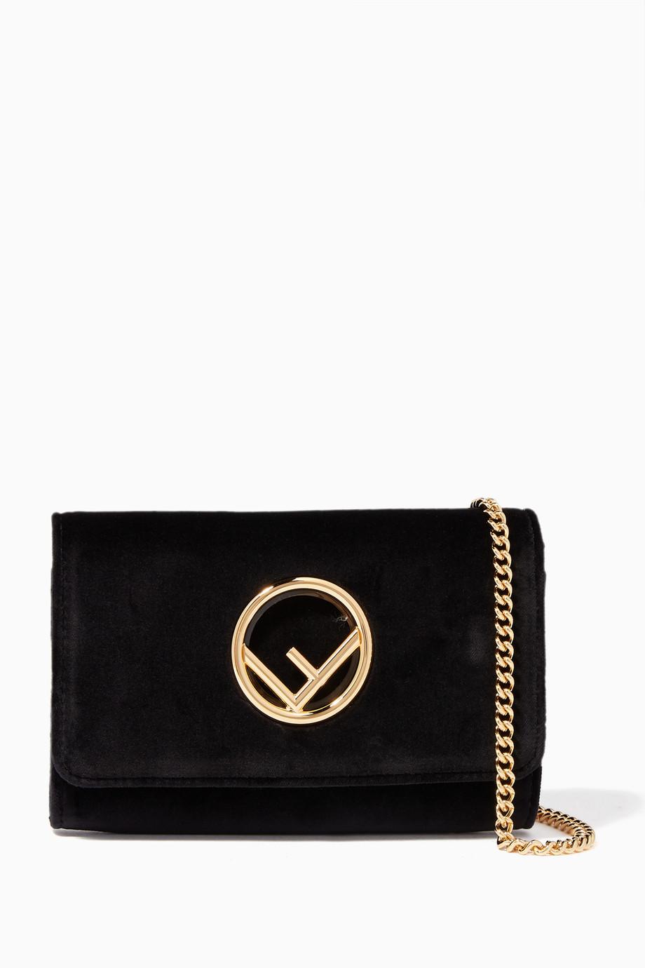 3c72376c67eb Shop Fendi Black Black Velvet Mini-Bag Wallet for Women
