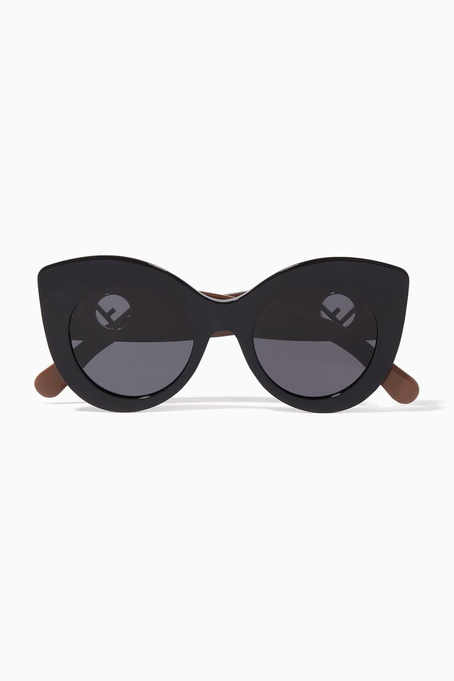 228cb8d22 تسوق نظارة شمسية بتصميم عين القطة سوداء Fendi أسود للنساء | اُناس ...