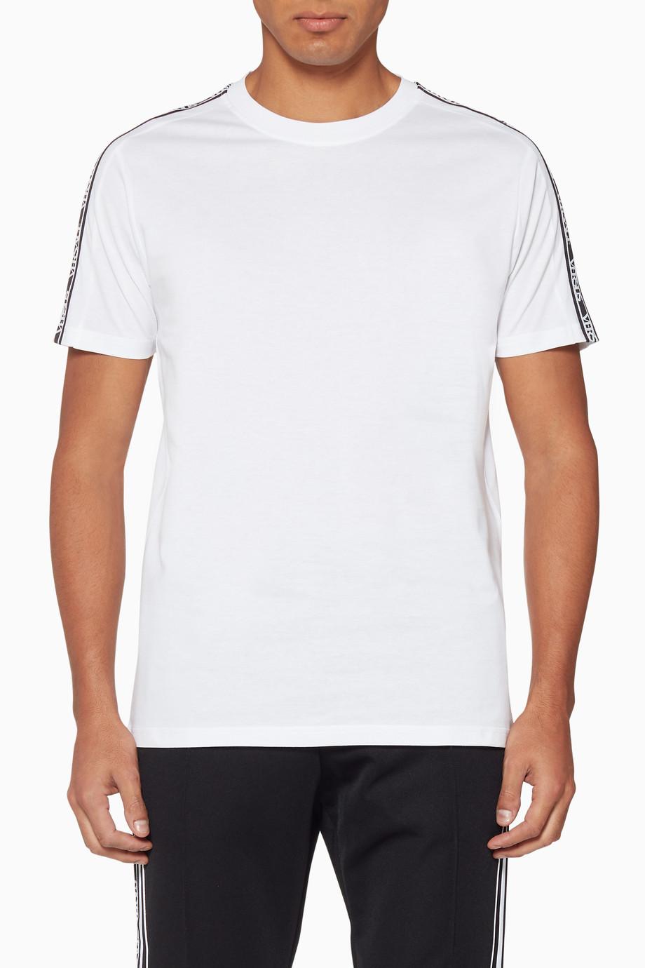 bc6e7da6 Shop Versus Versace White White Logo-Tape T-Shirt for Men   Ounass