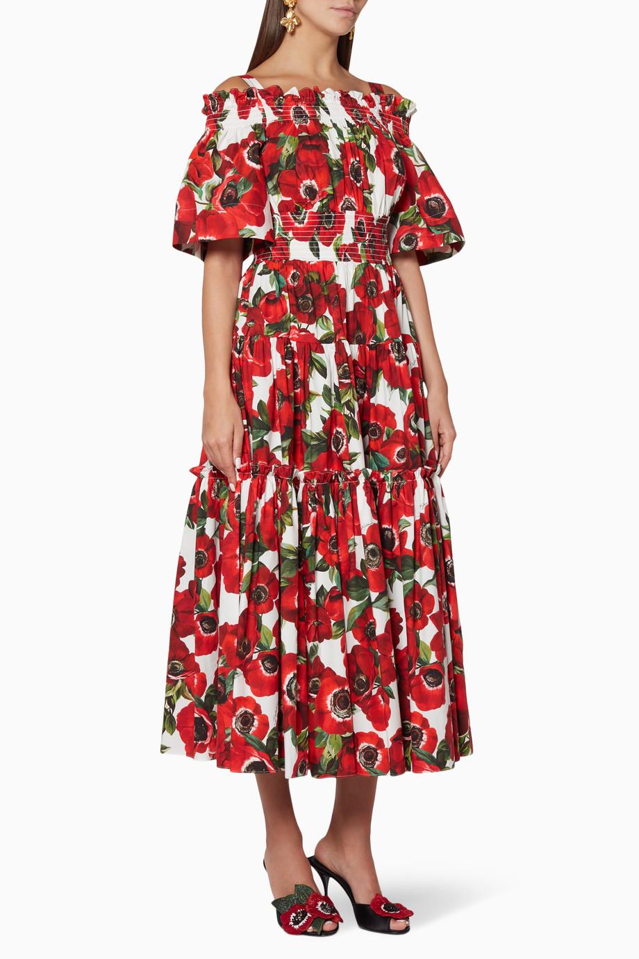 1ab7a4f3 Shop Dolce & Gabbana Red Poplin Anemoni Dress for Women | Ounass Saudi
