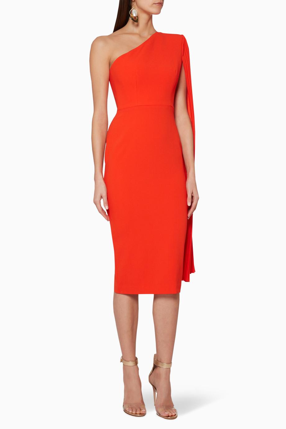 7c55b9b0de2 Shop Alex Perry Orange Tangerine-Orange One-Shoulder Lorin Dress for ...