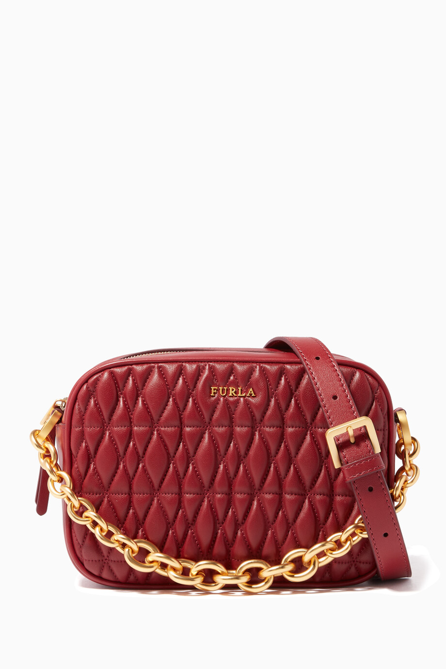 8bd448fa0 Shop Furla Red Dark-Red Quilted Cometa Mini Cross-Body Bag for ...
